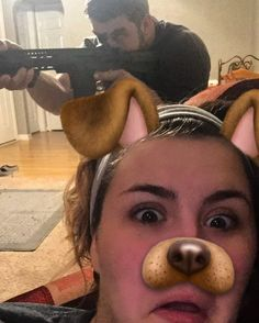 So when I'm being #tacticool and playing with my new pistol build my wife thinks it's funny to take snapchat pics. #tactical #tacticalgear #AR #pistol #snapchat #2a #operator #yourlead #wife #love #gunsdaily #gunsofinstagram #training #beautiful #tacticalgear #dowork #gear #ar15build #ar15pistol #fight by adventuresofoak