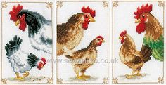 Chickens, Pack of 3 Cross Stitch Kit