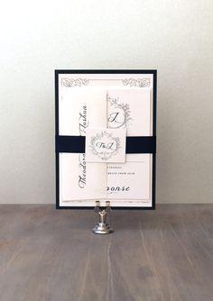 Classic Love Navy Wedding Invitations Navy Wedding by BeaconLane