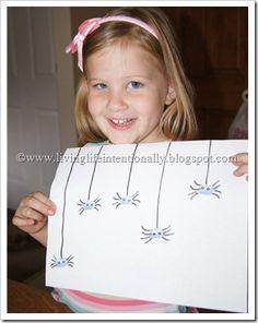 Thumbprint Spider Art for Halloween kids craft