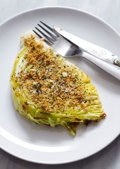 Roasted Garlic Parmesan Cabbage Wedges - - This is a wonderful, healthy side dish to accompany your grilled meats: Roasted cabbage wedges seasoned with garlic, parmesan and spices. Quick and super simple to make in the oven, this is one of …. Veggie Side Dishes, Vegetable Dishes, Side Dish Recipes, Veggie Recipes, Food Dishes, Vegetarian Recipes, Cooking Recipes, Healthy Recipes, Cooked Vegetable Recipes