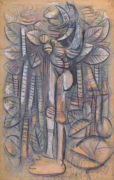 Wilfredo Lam - Lumiere de la Foret Gouache op papier, 192 x Centre Pompidou, Parijs Contemporary Artists, Modern Art, 20th Century Painters, Centre Pompidou Paris, Cuban Art, Caribbean Art, Textile Fiber Art, Grand Palais, Art Moderne