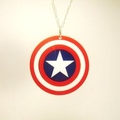 Captain America Shield - Pendant, or Key Ring-  Laser Cut Acrylic