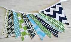 Bunting Banner, Fabric Flags, Modern Nursery Decor, Birthday Decoration Banner - Navy Blue, Green and Aqua Blue Chevron - Ready to Ship