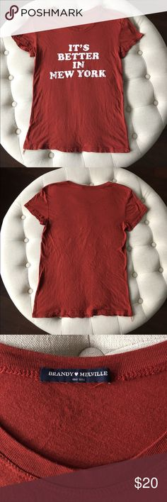 """Brandy Melville tshirt Rusty orange/red """"It's Better In New York"""" tee by Brandy Melville. Excellent condition! I don't trade  Brandy Melville Tops Tees - Short Sleeve"""
