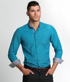 Pánska košeľa so zaujímavým golierom STYLER - tyrkys/ modrozelená Fall Winter 2014, Shirt Dress, Mens Fashion, Ing, Mens Tops, Shirts, Collection, Dresses, Moda Masculina