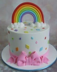 Rainbow cake inside and out! This cake was made for a little girl who requested it have a rainbow and coloured shaped diamonds! 4th Birthday Cakes, Rainbow Birthday Party, Pretty Cakes, Cute Cakes, Diamond Cake, My Little Pony Cake, Girl Cakes, Celebration Cakes, Shower Cakes