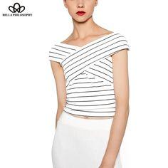 summer Striped V-neck sleeveless women T-shirt white