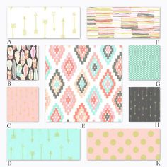 Gorgeous peach, coral and mint fabrics for custom crib baby bedding.