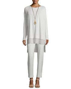 Long-Sleeve Layered Silk Tunic & Washable-Crepe Straight-Leg Pants, Women's by Eileen Fisher at Neiman Marcus.