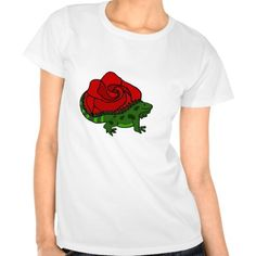 Iguana and Red Rose Art Shirts #iguana #rose #red #art #shirt #animals And www.zazzle.com/tickleyourfunnybone*