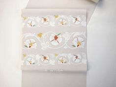 京都 染の名門 『 絹菱 』 謹製 更紗柄 九寸本仕立 名古屋帯