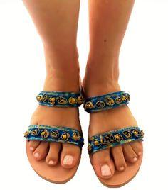 Blue leather sandals 3D  #3Dflower #bluesandals #greeksandals Greek Sandals, Blue Sandals, Leather Sandals, Oriental, Exotic, Bohemian, 3d, Handmade, Shoes