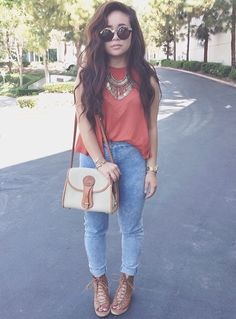 light acid wash jeans pink chiffon top brown strappy sandal heels round circle sunglasses spring outfit