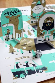 2011 North Pole Party People silkscreen board game by Tad Carpenter