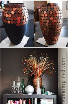 Cool DIYs Made With Money, Dollar Bills and Coins - DIY Penny Vase - Walls, Floors, DIY Penny Table. Art With Pennies, Walls and Furniture Make With Money, Dollar Bills and Coins. Cool, Creative Tutorials, Home Decor and DIY Projects Made With Cash http://diyjoy.com/diy-ideas-pennies-money