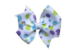 ON SALE 20% OFF White bow with purple, green & blue dots - 4 inch hair bow on Etsy, $4.00