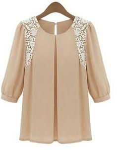 Pink Contrast Lace Shoulder Half Sleeve Blouse US$25.40