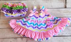 Girls Easter Bunny Tutu Cute Pastel Chevron Print Swing Top Bloomers Outfit Set Free Shipping by SwankyDudzBoutique on Etsy