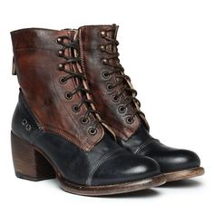 NIB-NEW-Bed-Stu-OATH-Black-Brown-Leather-Lace-Up-Boots-Size-10-Cobbler-Series