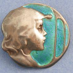 Silver  enamel Arts  Crafts Kate Harris button. Cool Buttons, Silver Buttons, Vintage Buttons, Jugendstil Design, Button Art, Button Flowers, Arts And Crafts Movement, Sewing A Button, Silver Enamel