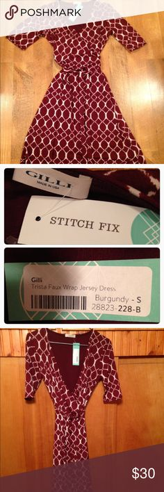 "Gilli Stitch Fix Faux wrap jersey dress Adorable and NWT Trista faux wrap jersey dress from Stitch Fix. Color is listed as burgundy, size is small, shoulder to hem is 38"", width from armpit to armpit is Approximately 14"" however this dress is 95% polyester 5%spandex, so there is stretch to it and the waist has a tie to tighten it. Please ask questions before purchasing Stitch Fix Dresses"