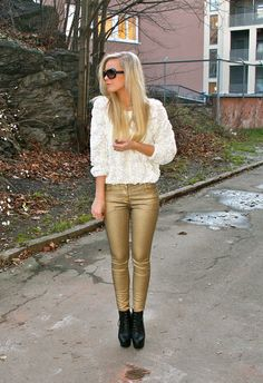 American apparel mesh floral top and amazingly SICK gold pants