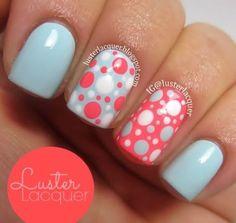 Spring nail art, spring nails, summer nails, dot nail art, polka do Dot Nail Art, Polka Dot Nails, Polka Dots, Coral Nail Art, Funky Nails, Trendy Nails, Get Nails, Love Nails, Nagellack Design