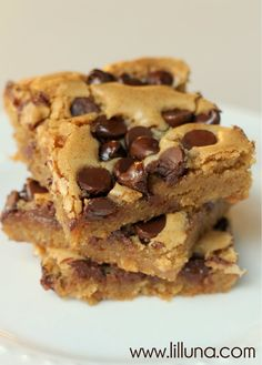 Buttery, Chewy Cookie Bars - These are really, REALLY yummy. Sprinkled ours with chocolate chips, Heath bits and chopped pecans.