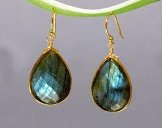 Faceted Labradorite  Vermeil Gold bezel set Earrings - Large Gemstone Earrings