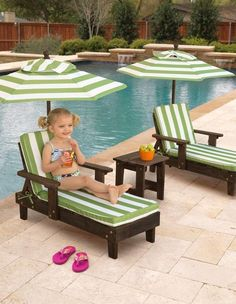 This Fun in the Sun 2-Chaise Set is perfect for kids who like to relax outside after a long day of playing.