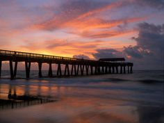 size: Photographic Print: Pier at Sunrise with Reflections of Clouds on Beach, Tybee Island, Georgia, USA by Joanne Wells : Fine Art Tybee Island Rentals, Tybee Island Beach, Tybee Island Georgia, Oh The Places You'll Go, Places To Visit, Vacation Spots, Vacation Rentals, Vacations, Savannah Chat