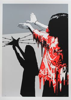 """""""Sad reality"""" screen print limited edition Red Version, All differents more ; http://kurar.fr/"""