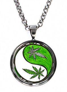 Hemp Necklace Marijuana GANJA Tree Branch Wood Slice Doublesided Art Pendant