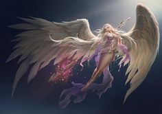 absurdres amber_eyes angel angel_wings artist_request breasts highres league_of_angels long_hair polearm see-through silver_hair solo spear weapon wings Fantasy Girl, Fantasy Art Angels, Fantasy Images, Fantasy Warrior, Fantasy Artwork, Anime Angel, Ange Anime, League Of Angels, Art Heaven