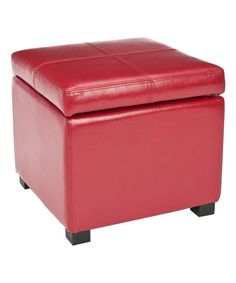 Another great find on #zulily! Red Dahlia Square Leather Ottoman by Safavieh #zulilyfinds