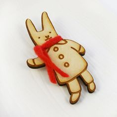 Winter Bunny With Red Scarf Wood Pin. $12.00, via Etsy.