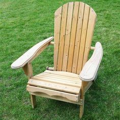 Folding Adirondack Chair For Patio Garden In Natural Wood Finish (Free  Shipping)
