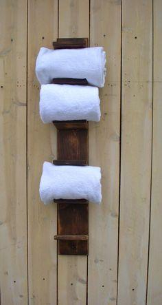 Handmade Towel Holder - Rack - Bath Decor - Wood - Shabby - Cottage. $95.00, via Etsy.