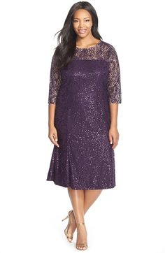 e8fe9374f22 Alex Evenings Sequin Lace Tea Length Dress with Illusion Yoke  amp  Sleeves  (Plus Size