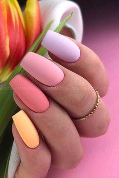 Purple And Pink Nails, Pastel Nails, Summer Acrylic Nails, Multicoloured Nails, Cow Nails, Cute Spring Nails, Almond Nails Designs, Nail Colors, Pastel Colors