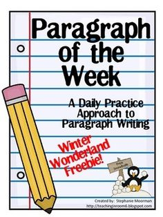 Teaching the kids how to structure a paragraph is really a hard task. But Paragraph of the Week breaks it down into an easy to remember, simple format for the students. This paragraph, which is winter-themed and perfect for the beginning of the new year, is a great way for you to see if the entire Paragraph of the Week resource is a good fit for your classroom. Just print this free sample out and use it in your room. This is a great way to try it out!