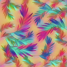 Colorful tropical leaves / palms pattern in rainbow colors on a soft golden background. Digital Art Photography, Abstract Photography, Image Photography, Art Prints For Sale, Fine Art Prints, Golden Background, Show Photos, Tropical Leaves, Art Market