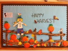 harvest preschool bulletin boards - Bing Images, like the fence Door Bulletin Boards, Thanksgiving Bulletin Boards, November Bulletin Boards, Kindergarten Bulletin Boards, Halloween Bulletin Boards, Preschool Bulletin Boards, Bullentin Boards, Bulletin Boards For Fall, Fall Boards