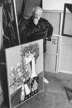 PICASSO with the portrait of 'Jacqueline with Flowers' 1957; photograph: David Douglas Duncan