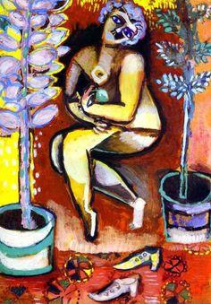 Nu aux fleurs. 1911. Gouache on paper. 33.5 x 24 cm