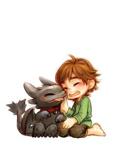 Little Hiccup and Toothless