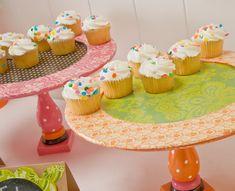 Mod Podge Birthday Cupcake Stands