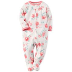 Carter's Baby Girls' Microfleece Floral-Print Pajamas ❤ liked on Polyvore featuring baby and baby girl