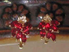 Vintage Red and Clear Rhinestone Earrings  by delightfullyvintage, $16.00